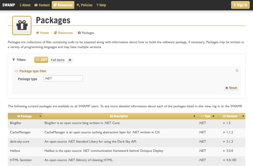 SWAMP Packages page showing filtered .NET package types